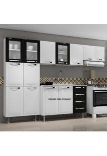 Cozinha De Aço Compacta Em L 11 Portas 3 De Vidro Itanew Branco/Preto - Itatiaia