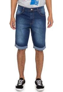 Bermuda Jeans Barra Dobrada Grupo Avenida - Masculino-Azul