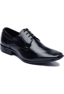 Sapato Social Masculino Em Couro Com Cadarço Cla Cle - Masculino-Preto