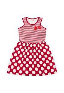 Vestido Infantil - Top Listrado - Algodão E Elastano - Vermelho - Duduka