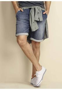 Bermuda Jeans Moletom Masculina Com Cós Em Elástico