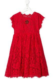 Dolce & Gabbana Kids Vestido Vermelho De Algodão Com Renda E Cristal Floral