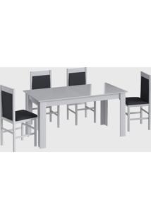 Conjunto Mesa Elast. 6 Cadeiras Branco Móveis Cançáo - Tricae