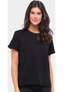 Camiseta Colcci Básica Ampla Feminina - Feminino-Preto