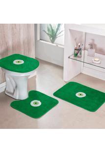 Jogo De Banheiro Dourados Enxovais Olho Grego 03 Peças Verde Bandeira