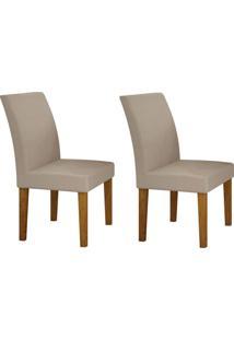 Conjunto Com 2 Cadeiras Olímpia Imbuia Mel E Veludo Palha