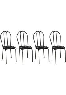 Conjunto 4 Cadeiras Hécate Cromo Preto E Preto Flor