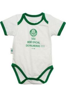 """Body Reve D'Or Sport """"Sou Bebê Oficial"""" Palmeiras Branca E Verde - Tricae"""