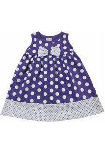 Vestido Para Bebê De Bolinhas Happy Baby Roxo E Branco 100 % Algodão