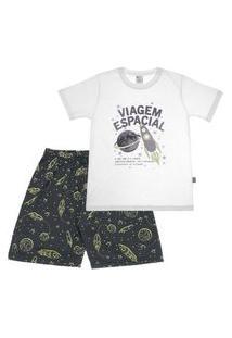 Pijama Branco - Infantil Menino Meia Malha 42751-3 Pijama Branco Infantil Menino Meia Malha Ref:42751-3-4
