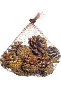 Enfeite De Saquinho Com Pinhas- Marrom & Dourado- 5Xcromus