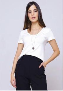Camiseta Sob Gola V Manga Curta Feminina - Feminino-Off White