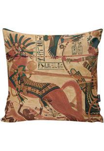 Capa Para Almofada Egyptian Arts- Bege & Verde Petróleo