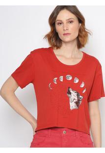 """Camiseta """"Fases Da Lua""""- Vermelha & Preta- Sommersommer"""