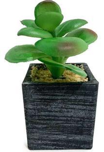 Vaso Com Suculenta Artificial Jade Único Verde