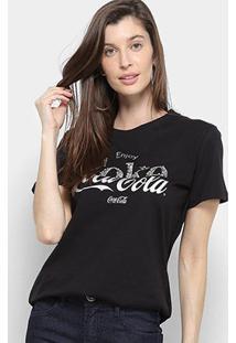 Camiseta Coca Cola Enjoy C/ Aplique Manga Curta Feminina - Feminino