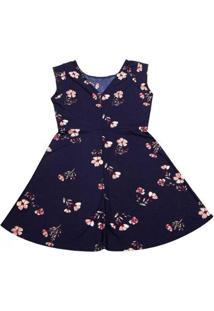 Vestido Pernambucanas Fit And Flare Floral Feminino - Feminino-Azul Escuro