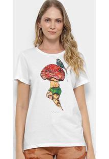 Camiseta Colcci Manga Curta Feminina - Feminino-Gelo
