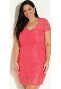 Vestido De Renda Coral Plus Size