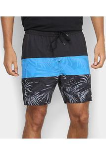 Bermuda Quiksilver Boardshort Multiply Volley 18 Masculina - Masculino-Preto+Azul