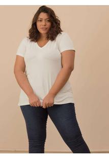 Camiseta Decote V Evasê Plus Size Off White-50/52