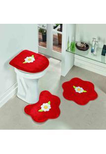 Jogo De Banheiro Dourados Enxovais Formato Margarida Folha Vermelho