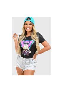 T-Shirt De Algodáo Good Vibes Preto