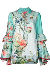 F.R.S For Restless Sleepers Camisa Polo Floral De Seda - Green