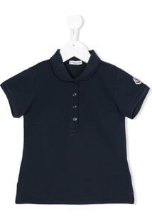 Moncler Kids Camisa Polo Com Logo Bordado - Azul