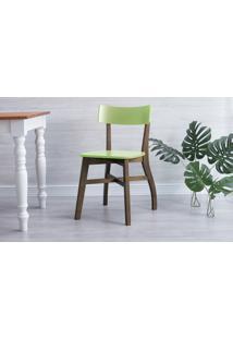 Cadeira Para Sala De Jantar Bella - Castanho E Verde Pistache 44X51X82 Cm
