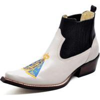 89ff45d52a Bota Country Top Franca Shoes Bico Fino Verniz Masculino - Masculino-Branco +Preto