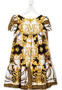 Young Versace Vestido Com Estampa Barroca - Dourado