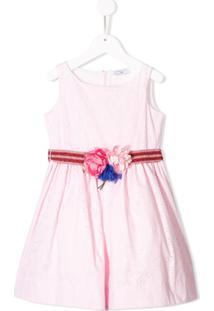 Monnalisa Vestido Com Renda - Rosa