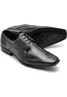 Sapato Social Couro Soft Bico Fino Reta Oposta Masculino - Masculino-Preto