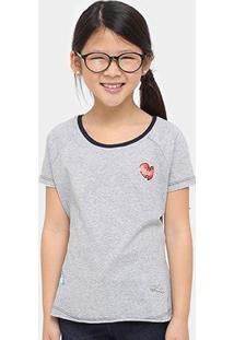Camiseta Disney Bela Patches Infantil - Feminino-Mescla