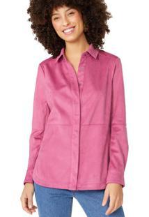Amaro Feminino Camisa Suede Manga Longa, Rosa Queimado