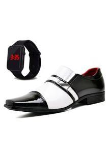 Sapato Social Com E Sem Verniz Com Relógio Led Dubuy 820Mr Branco