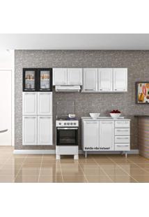 Cozinha Compacta 3 Peças 11 Portas 2 De Vidro Criativa Itatiaia Branco/Preto