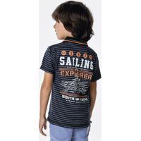 Camisa Polo Infantil Menino Em Malha De Fio Tinto Com Detalhe Em Retilínea  Puc    2ca9748eb74e8