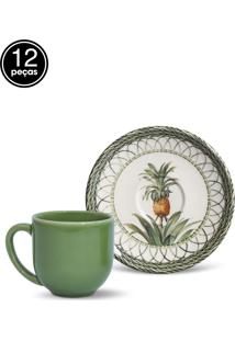 Conjunto 12Pçs Xícaras De Café Porto Brasil Coup Pineapple Branco/Verde