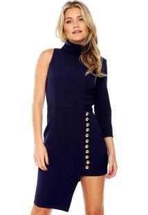 Vestido Lança Perfume Curto Assimétrico Azul