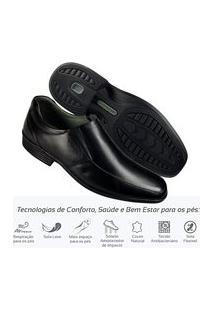 Sapato Masculino Social Couro Leve Comfort Sem Cadarço 45504 Preto