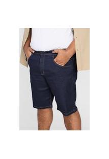Bermuda Jeans Biotipo Reta Pespontos Azul-Marinho