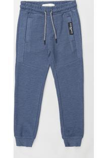 Calça Infantil Em Moletom Texturizado Com Cordão E Bolsos Azul