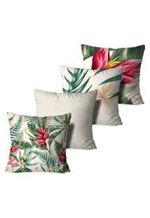 Kit 4 Capas Para Almofadas Decorativas Love Decor Heliconia Bege