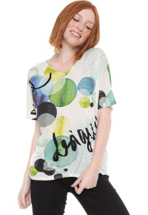 Camiseta Desigual Estampada Off-White/Verde