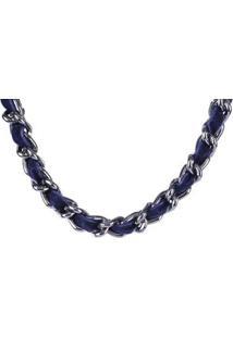 Colar Armazem Rr Bijoux Correntes Com Tecido - Feminino-Azul Escuro