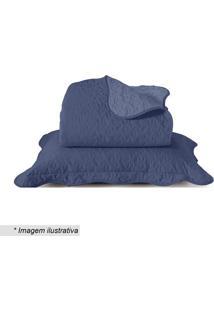 Conjunto De Colcha Boutis King Size- Azul- 3Pçs-Santista