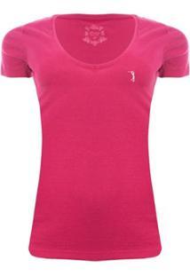 Camiseta Gola V Básica Aleatory Feminina - Feminino-Rosa
