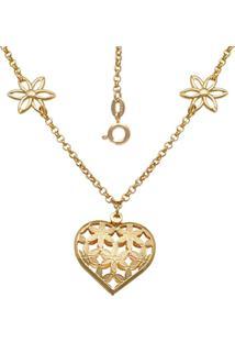Gargantilha Prata Mil Com 4 Flores Vazada E Coração Com Flor Vazado Dourado